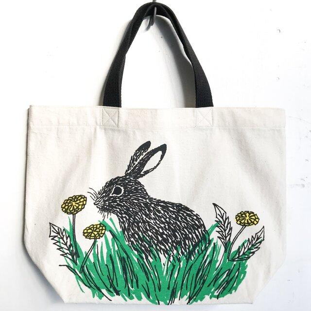 rabbit and dandelion mini toteの画像1枚目