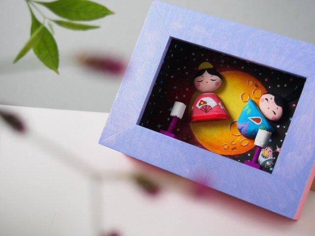 painted driftwood & pebble art ゆづちゃんの雛祭りの画像1枚目