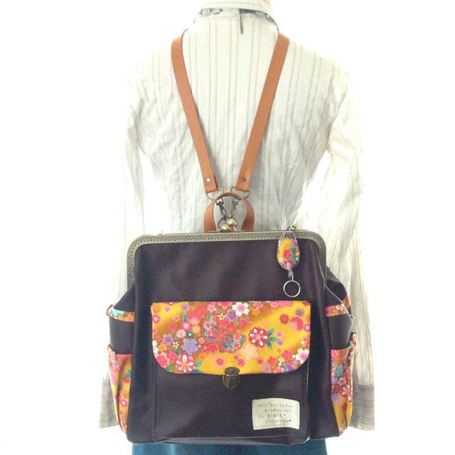 3WAY右ファスナー付きBIG撫子リュック フルセット Japanese pattern 和花と蝶 栗色の画像1枚目