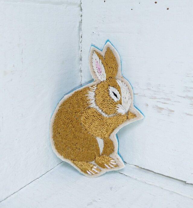 お顔のお手入れウサギちゃん*刺繍ブローチの画像1枚目