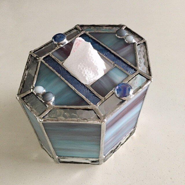 ガラス製ロールペーパーカバー:ブルー・グレイ・パープル系 byベイビューの画像1枚目