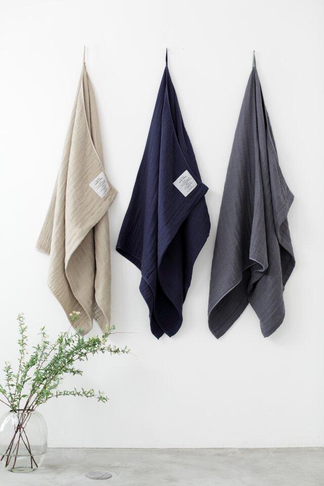2.5-PLY GAUZE TOWEL バスタオル/L  Mix Charcoalの画像1枚目