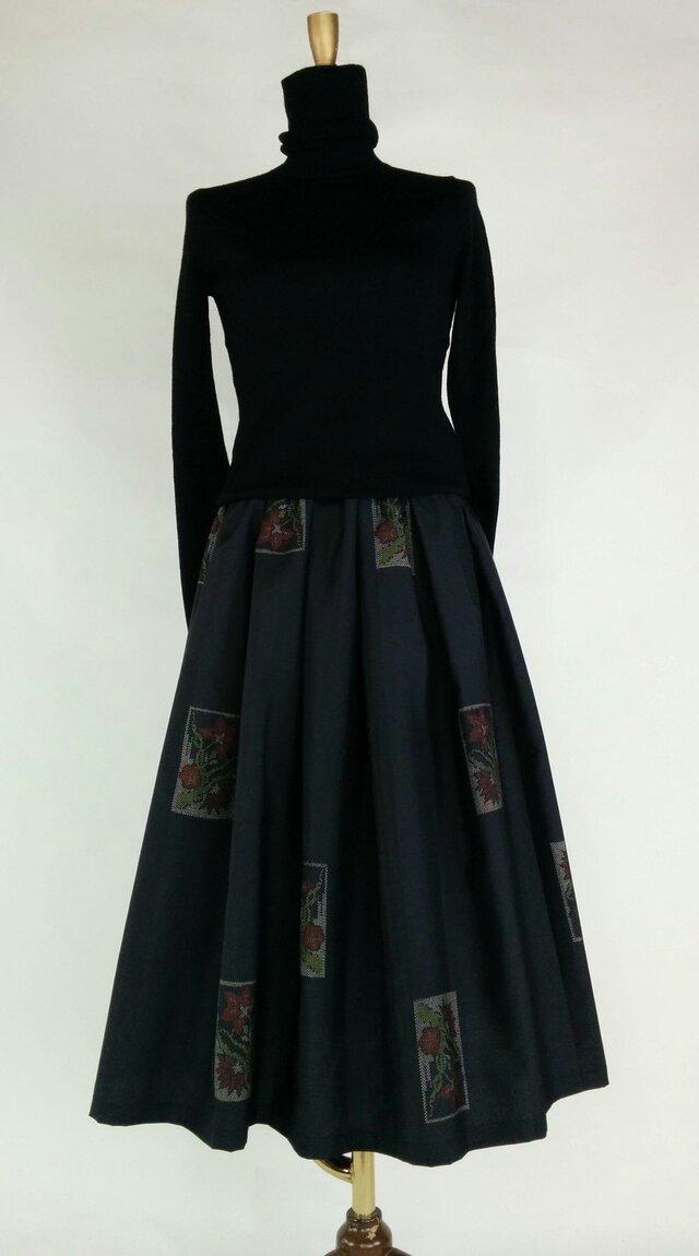 大島紬のリメイクスカートの画像1枚目