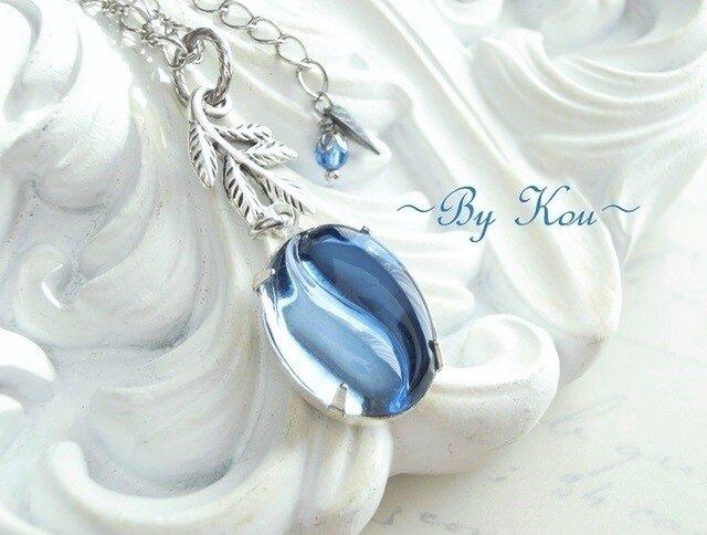 ~// Harmony Blue Glass //~vintage necklace.の画像1枚目