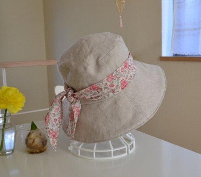 リネン リバティ ベーシック リバーシブル 帽子  57〜59cmの画像1枚目