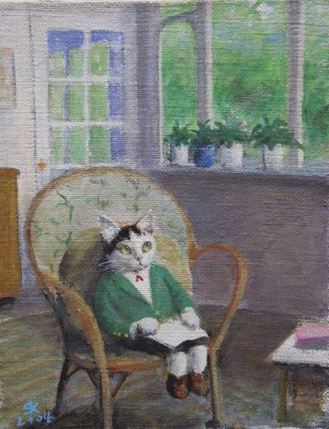 籐の椅子の子ねこの画像1枚目