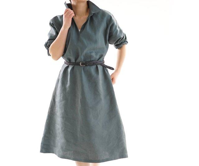 【wafu】リネンワンピース 台襟付きスキッパードレス ドルマンスリーブ/ローリエ a20-17の画像1枚目