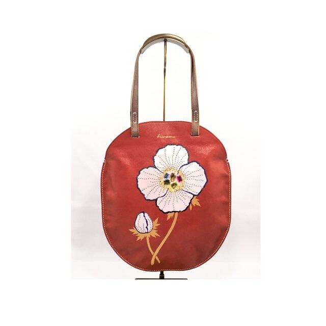 革のぺたんこバッグ(花・赤)の画像1枚目