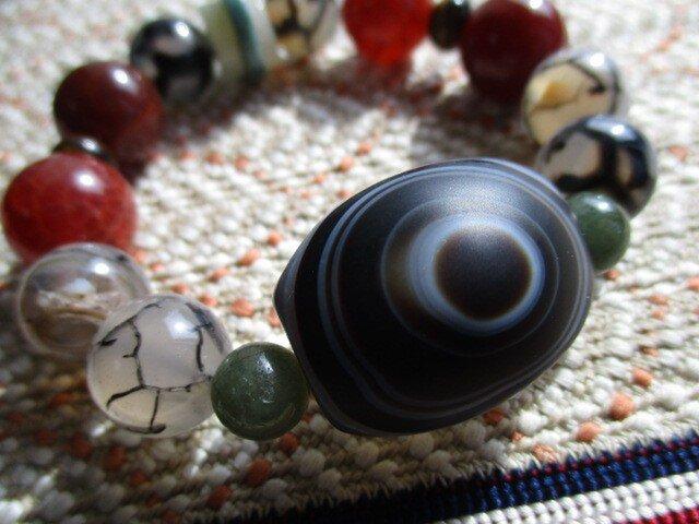 龍紋水晶「天から降臨した神の眼」チベット天眼瑪瑙天珠 ミャンマー翡翠 ブレスレットの画像1枚目