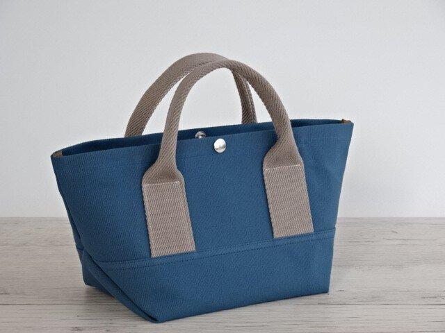 帆布 トート・大人カラーの ミニトート ミネラル ブルー キャンバス バッグの画像1枚目