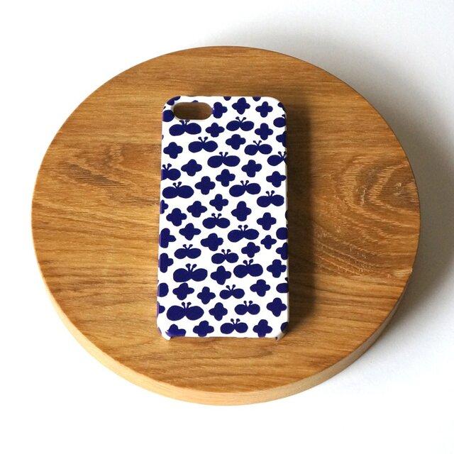 flower and butterfly ( deep blue ) スマホケース - L サイズ 【受注生産】の画像1枚目