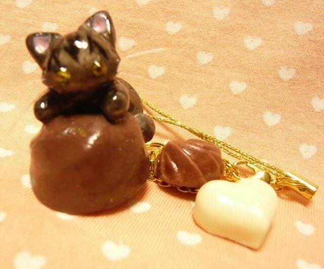 にゃんこのしっぽ○チョコレートのストラップ○さばとら猫の画像1枚目