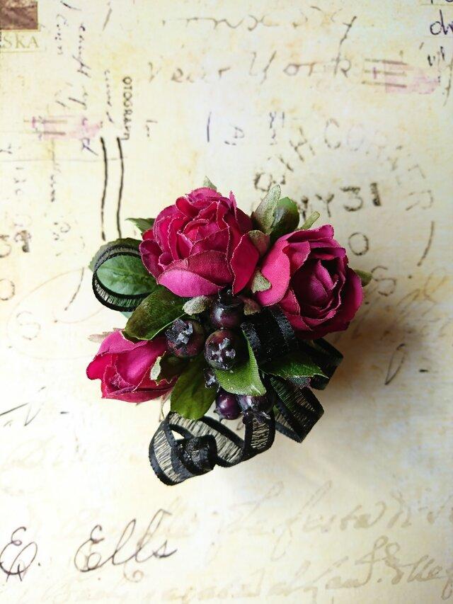 rose×ribbon corsage (オーキッドパープル)の画像1枚目