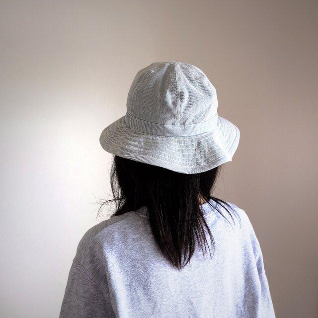 【再々販】まぁるい 帽子 - コットンリネン ブルーストライプ  -  <受注制作>の画像1枚目