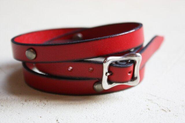 革紐のブレスレット [M] (赤色)の画像1枚目