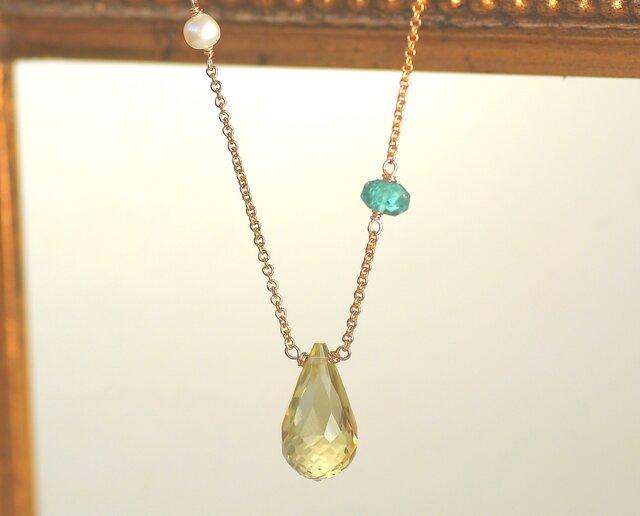14kgf 大粒AAA宝石質レモンクォーツ ブリオレットドロップカット、アパタイト アシンメトリーネックレスの画像1枚目