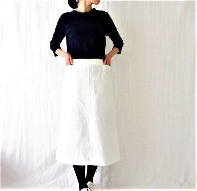 春を迎える♡白い台形スカート♡ミモレ丈・着回し力♪綿麻オックス・whiteの画像1枚目