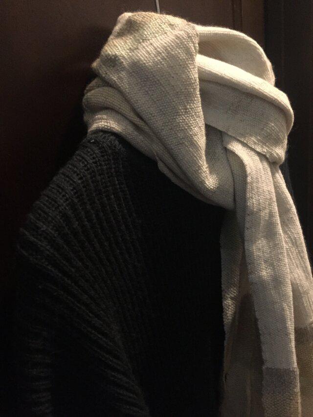 手織りロングマフラー(白緑/びゃくろく)の画像1枚目
