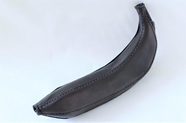 バナナ型 革のペンケースの画像1枚目