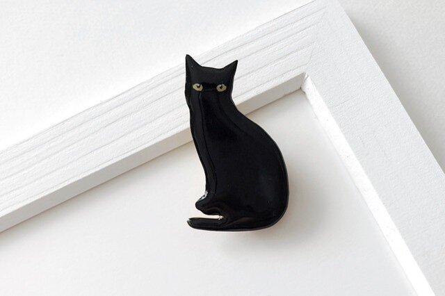 黒猫 オスワリ ブローチ(ボックス入)の画像1枚目