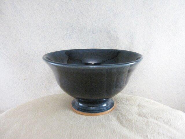 陶器ご飯茶碗(やや大)ルリ釉の画像1枚目