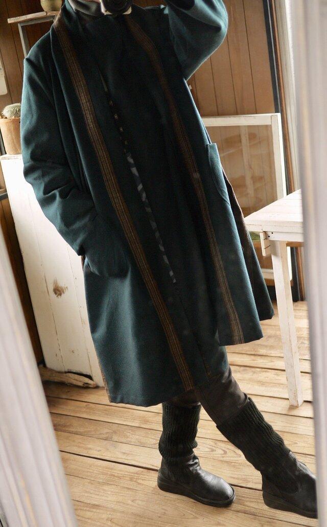 男性ウール反物から羽織コートの画像1枚目
