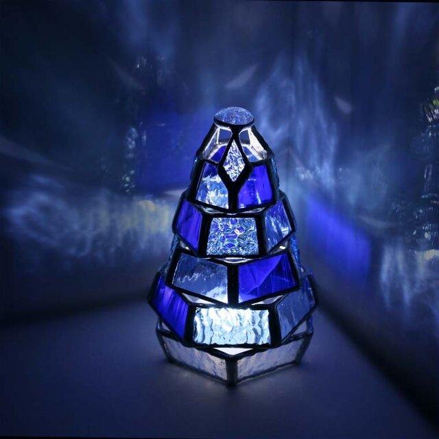 【小さなもみの木ランプ/Blue Collection】ステンドグラス・ミニランプ(LEDライト付)の画像1枚目