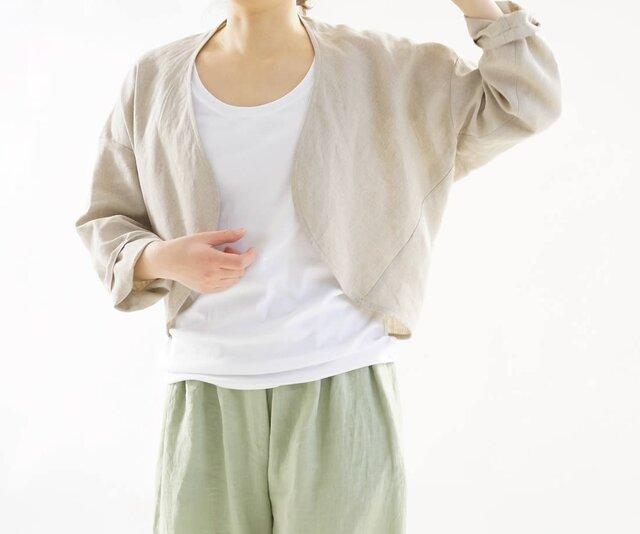 【wafu】中厚 リネン マーガレット 羽織 ボレロ トップス トッパーカーディガン / 亜麻ナチュラル h006b-amn2の画像1枚目