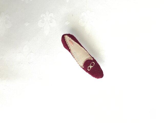 shoe shoe shoe刺繍ブローチNo.69(えんじ)の画像1枚目