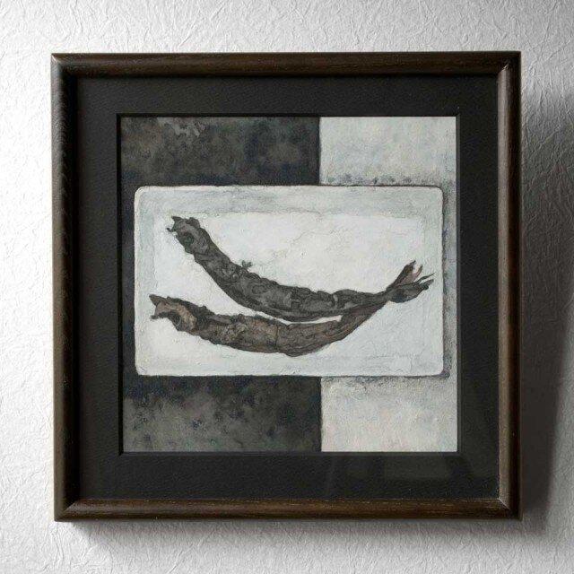 日本画 「ししゃも」 皿の上の柳葉魚の絵画 額縁付の画像1枚目