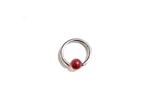 ビーズリング5 RED (ピアス)の画像1枚目