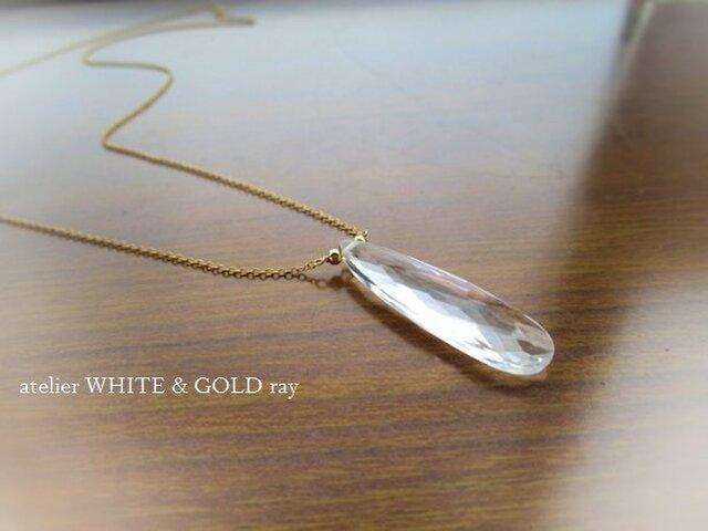 細長の水晶ネックレス(14KGF)の画像1枚目