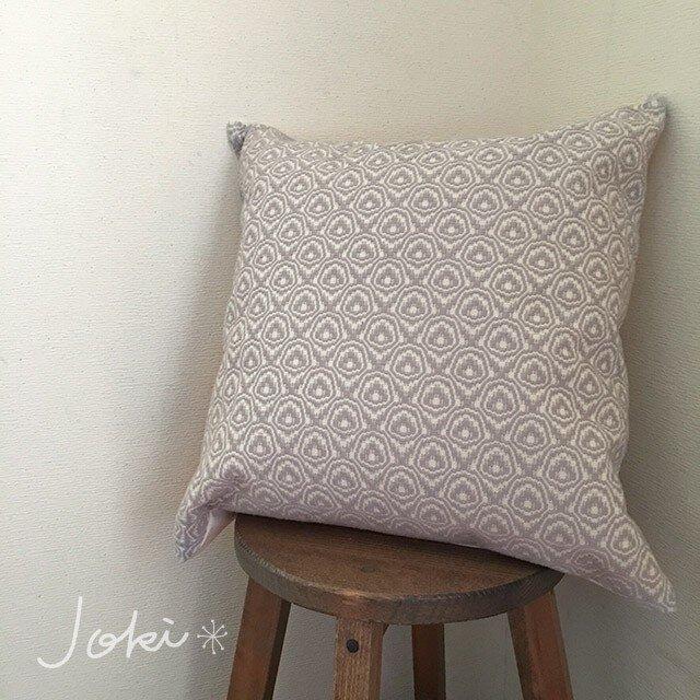 cushion cover[手織りクッションカバー] ライトグレーの画像1枚目