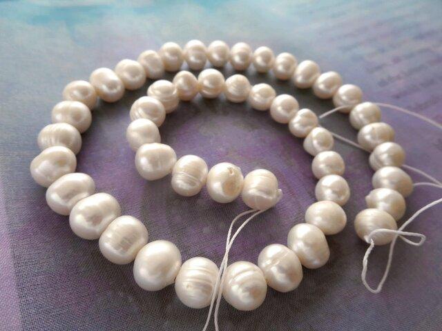 *♥Borneo Freshwater Pearls Pure White*ボルネオ島 淡水パール 1連♥*の画像1枚目