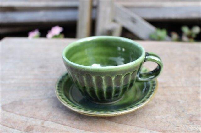 グリーンの器 カップとソーサ[18Fev-12]《釉薬》の画像1枚目