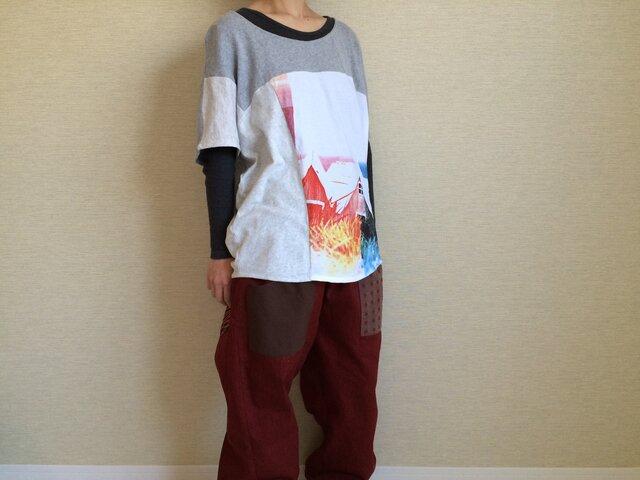 フレンチスリーブのゆるTシャツ(白グレー系)B010の画像1枚目