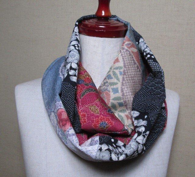 着物リメイク 3種類の辻が花紋様の小紋着物×染大島紬のスヌードの画像1枚目