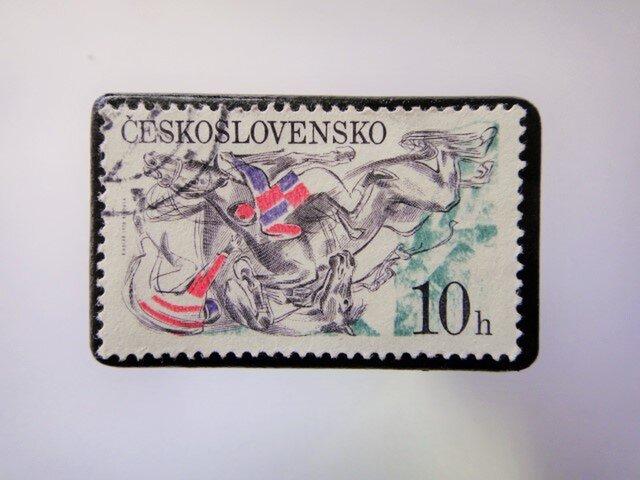 チェコスロバキア 馬切手ブローチ3391の画像1枚目