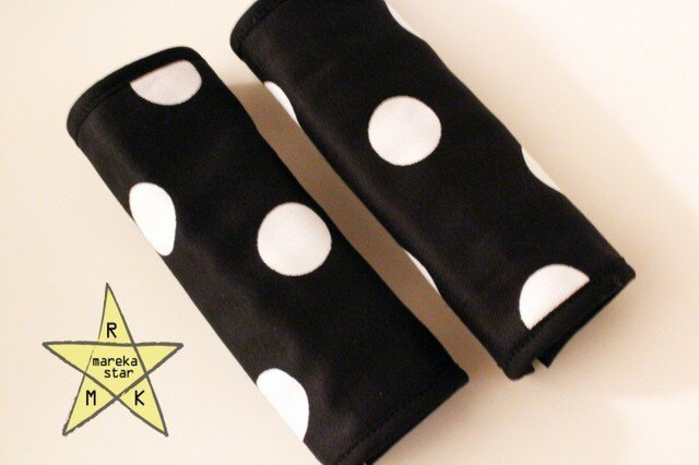 【売約済M様】№161ベビーカーアーチ型ハンドルカバー☆黒×白の画像1枚目