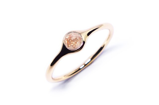 春色ピンクダイヤ・ローズカットミニオンリングK10【Pio by Parakee】minion diamondの画像1枚目