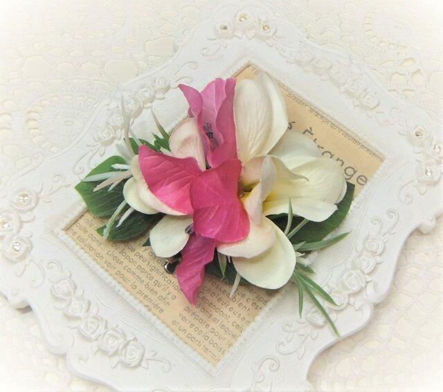 フラガール 2wayクリップ プルメリア&ブーゲンビリア☆*:ホワイトの画像1枚目