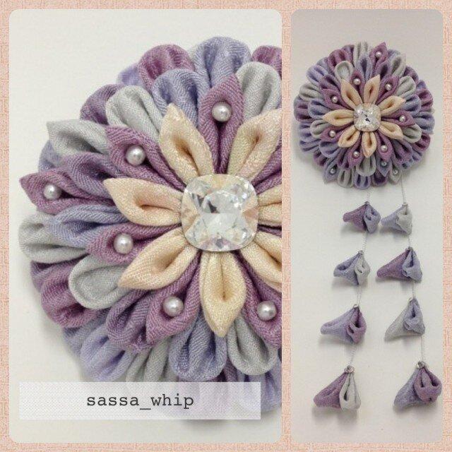 乱れ菊(紫)の2WAYクリップの画像1枚目