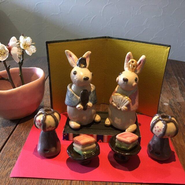 うさぎのお雛さまセット(桃の節句) ぼんぼり ひし餅  ひな祭り お雛様 ひな人形 陶器の画像1枚目