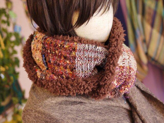 手織り もこもこファー二重巻ロングスヌードの画像1枚目