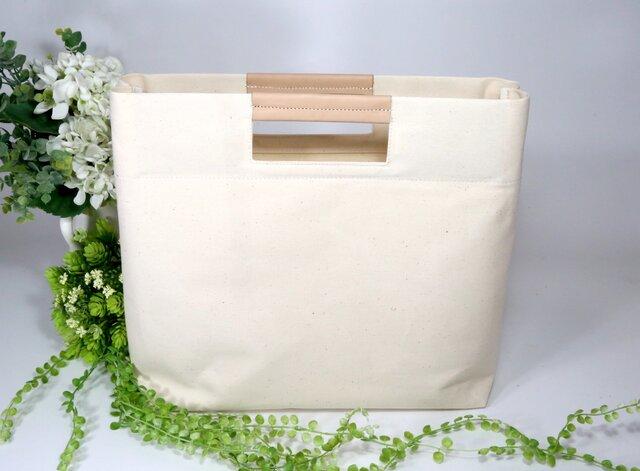 A4対応★生成り★倉敷帆布☓ヌメ革★シンプルなクラッチバッグ3(8230)の画像1枚目