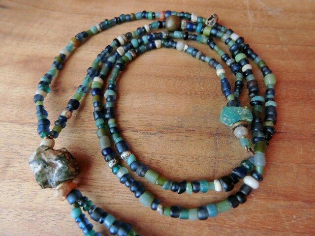 *悠久のトキのネックレス@貿易風のビーズ+ローマングラス+アフリカの真鍮とかの画像1枚目