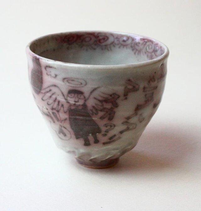 天使と猫と鳥の器 / 陶芸 /釉裏紅 /茶器 /ティーカップ /ceramic /pottery /teacupの画像1枚目
