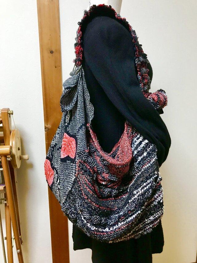 着物リメイク手織り風呂敷バッグ&マフラーの画像1枚目