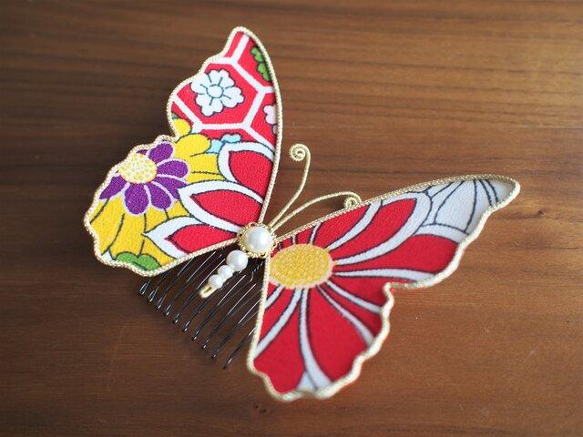 蝶々コーム☆アンティーク着物生地使用☆赤柄☆の画像1枚目