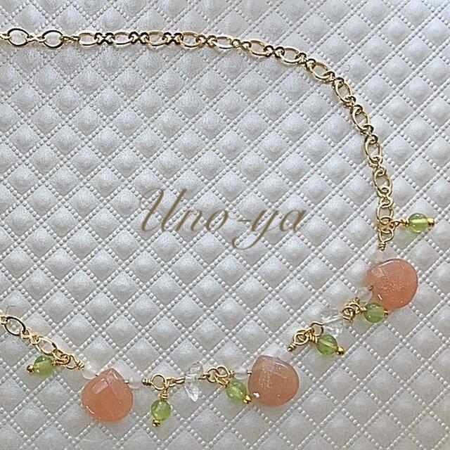 [春色]オレンジムーンストーンネックレスの画像1枚目
